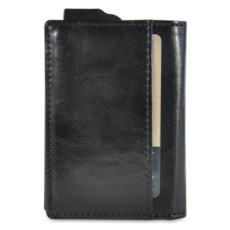 Leather-Style RFID Blocking Pocket Card Holder - Black