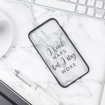 lovecases statement iphone x case - i heart naps but i stay woke