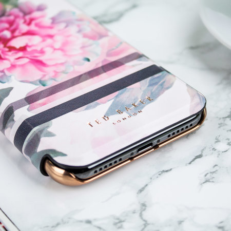 ted baker painted posie june iphone x mirror folio case - baby pink