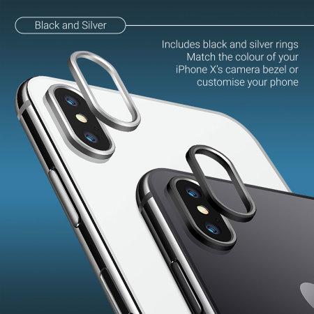 cheap for discount de643 2bf76 Olixar iPhone X Camera Lens Protector Metal Ring - Black / Silver