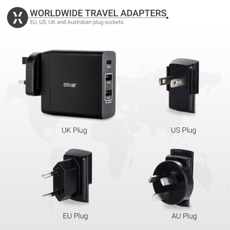 Olixar 3 Port Universal USB-C Travel Adapter with USB-PD