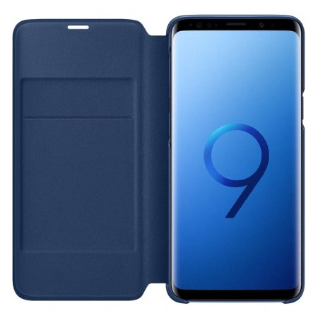 Official Samsung Galaxy S9 LED Flip Wallet Cover Case - Blue