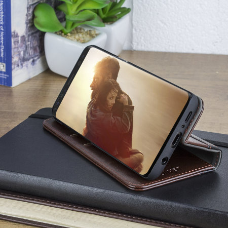 Olixar XTome Leather-Style Samsung Galaxy S9 Book Case - Brown