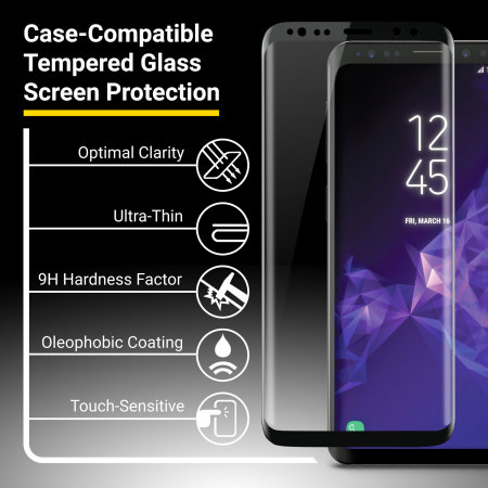 Protection d écran Verre Trempé Galaxy S9 Plus Olixar Full Cover Noir d592ec0556e8