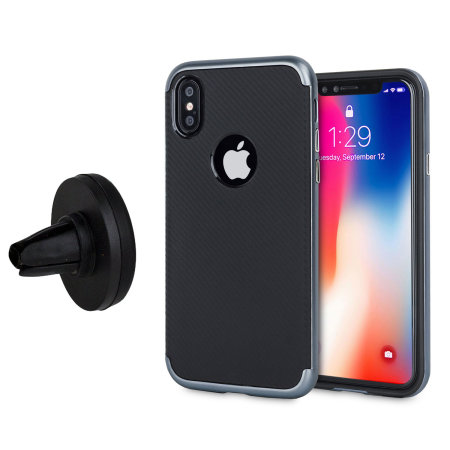 Olixar X-Duo iPhone X Tough Case & Vent Mount Combo - Metallic Grey
