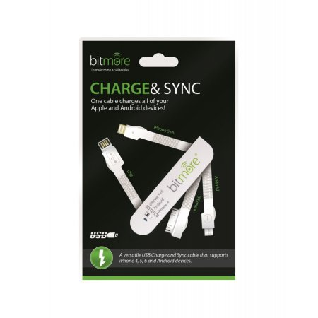 Bitmore 3-in-1 Sync and Charge Cable - White