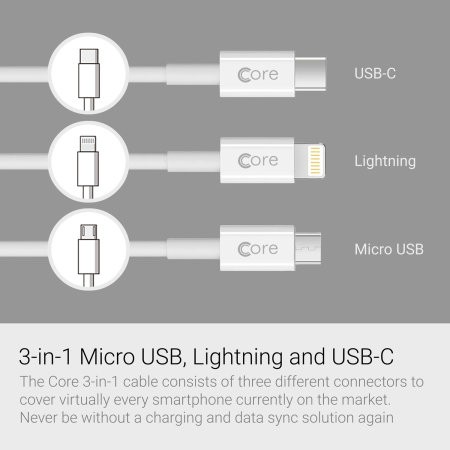 Core 3-in-1 Lightning / Micro USB / USB-C 1m Cable - White