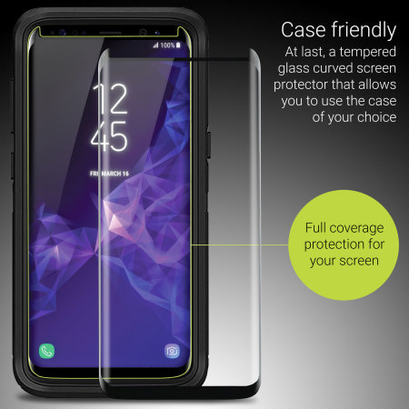 Olixar Samsung S9 Plus Case Compatible Glass Screen Protector - Black