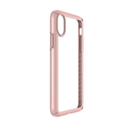 speck presidio show iphone x protective case - clear / rose gold