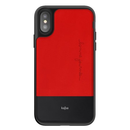 kajsa preppie collection iphone x leather case - red / black