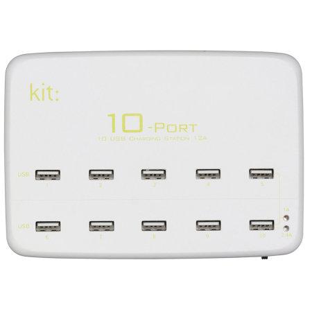 Kit 10 Port USB Charging Station for Smartphones & Tablets - 12 Amps