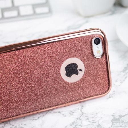 Rose Gold iPhone 5 Glitter Case - Olixar Hyper Protective Gel Design