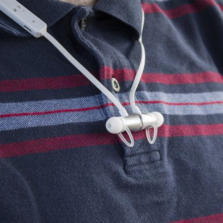 """Ecouteurs Bluetooth Plug """"N"""" Go avec micro – Blanc / Argent"""