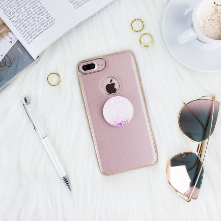 best loved 924c9 f2d2a iPhone 7 Plus Rose Gold Case with PopSocket - Rose Gold