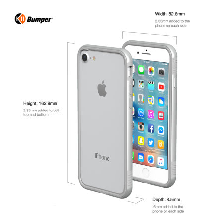 thanotech k11 iphone 8 plus / 7 plus aluminium bumper case - silver
