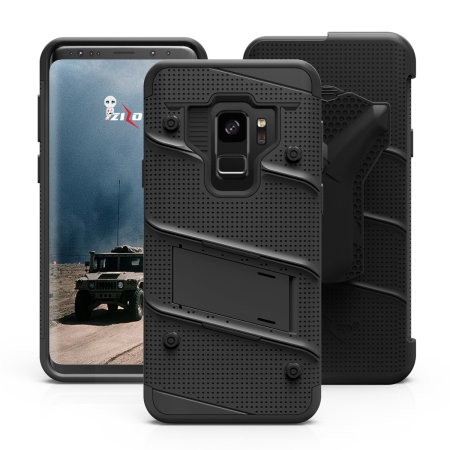Zizo Bolt Samsung Galaxy S9 Tough Case & Screen Protector - Black