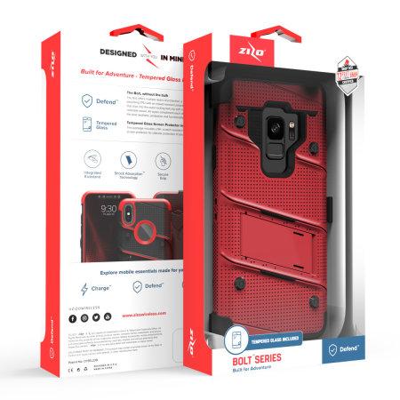 Zizo Bolt Samsung Galaxy S9 Tough Case & Screen Protector - Red
