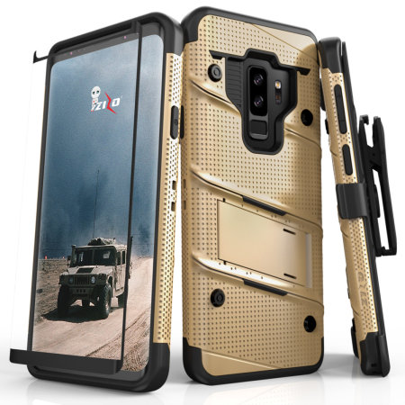 Zizo Bolt Series Samsung Galaxy S9 Plus Stoere Case & Riemclip - Goud