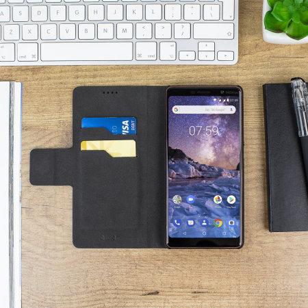Olixar Leather-Style Nokia 7 Plus Wallet Stand Case - Black