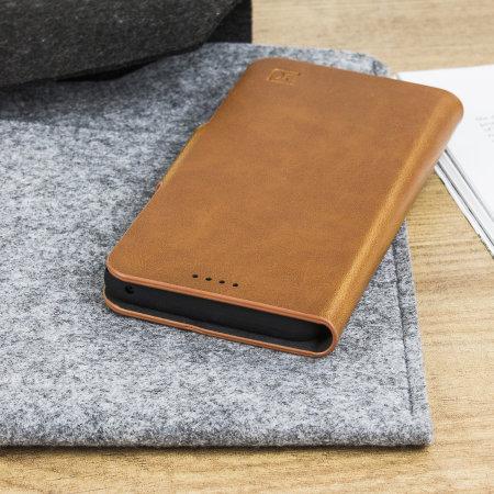 Olixar Leather Style Motorola Moto G6 Wallet Stand Case Tan