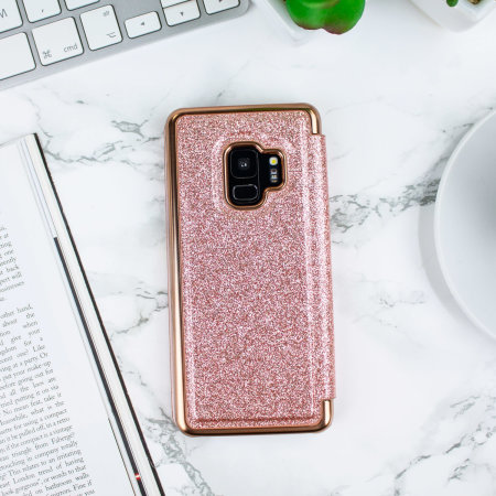 Ted Baker Mirror Folio Samsung Galaxy S9 Glitter Case - Rose Gold