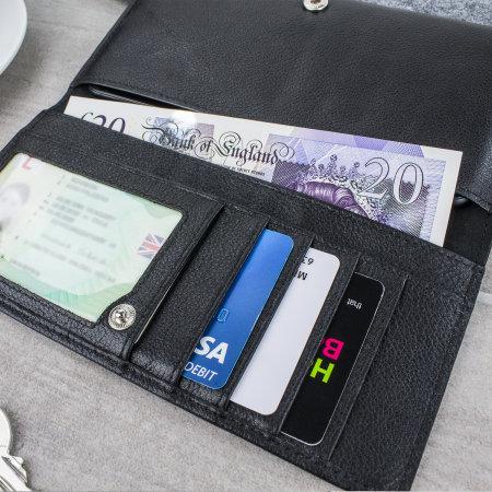 Olixar Primo Echtleder Alcatel 3 Taschen Geldbörse Hülle - Schwarz