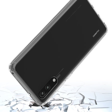 olixar exoshield tough snap on huawei p20 case   crystal clear