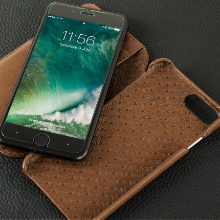 Vaja Wallet Agenda iPhone 8 Plus Premium Leather Case - Dark Brown