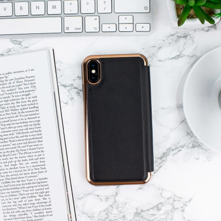 ted baker shannon mirror folio iphone x case - black / rose gold