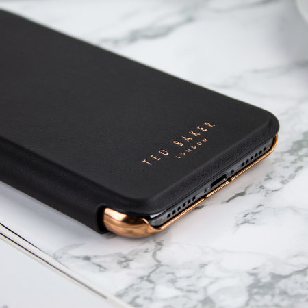 d8bd5e808 Ted Baker Shannon Mirror Folio iPhone X Case - Black   Rose Gold