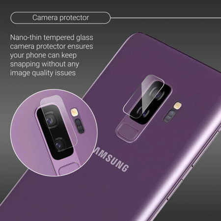 Olixar Samsung Galaxy S9 Plus Tempered Glass Camera Protector -2x Pack