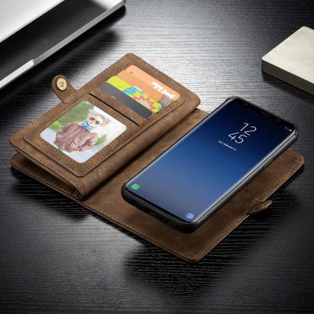 CaseMe Galaxy S9 Plus 3-in-1 Leather-Style Wallet Case - Tan