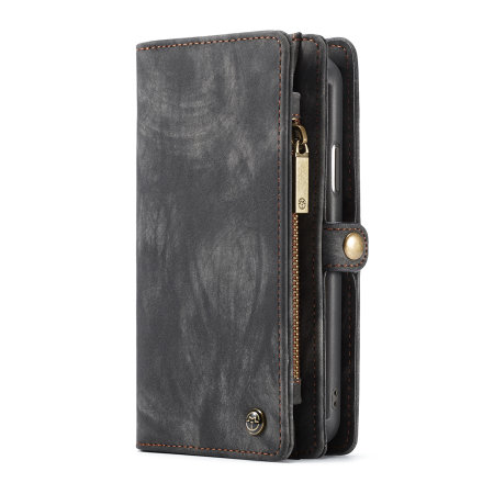 luxury apple iphone x leather-style 3-in-1 wallet case - black