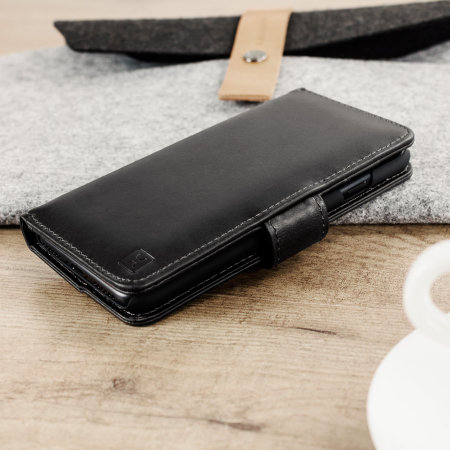 Olixar Genuine Leather iPhone 7 Wallet Case - Black