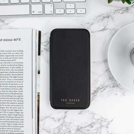 ted baker iphone 7 shannon mirror folio case - black / rose gold