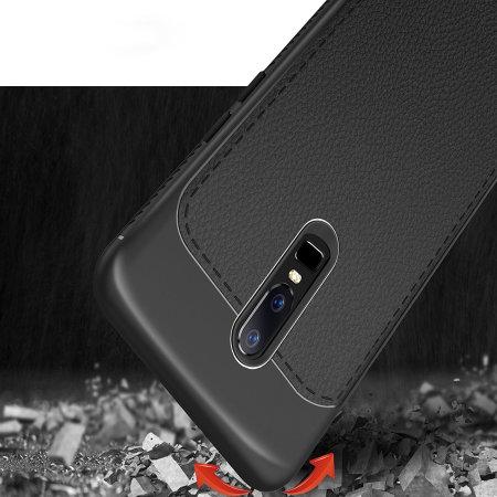Encase OnePlus 6 Leather-Style Thin Case - Black
