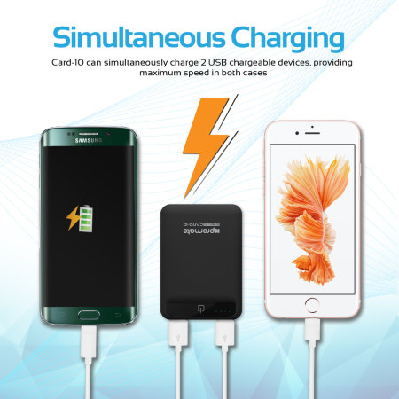 Promate Card-10 Compact 10,050 mAh Fast Charging Power Bank - Black