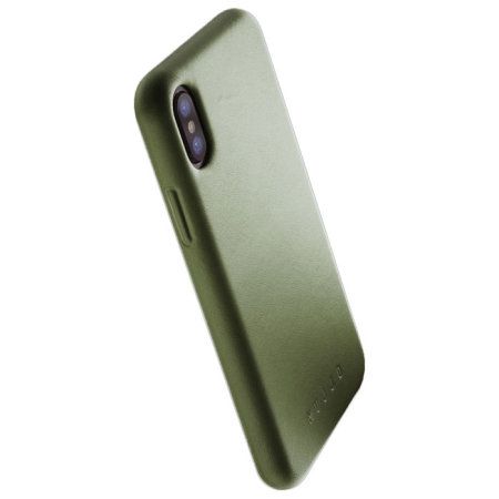 mujjo genuine leather iphone x case - olive