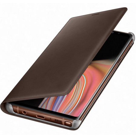 Official Samsung Galaxy Note 9 Leather Wallet Cover Case - Brown