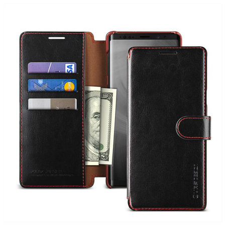 VRS Design Dandy Leather-Style Galaxy Note 9 Wallet Case - Black