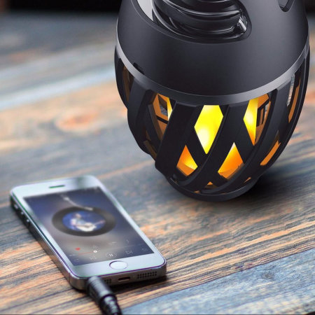 LED Flame Effect Waterproof Bluetooth Speaker Lantern - Black