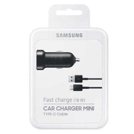 Official Samsung Note 9 USB-C Mini Car Adaptive Fast Charger - Black