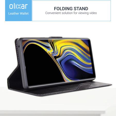 Samsung Galaxy Note 9 Genuine Leather Wallet Case Olixar - Black