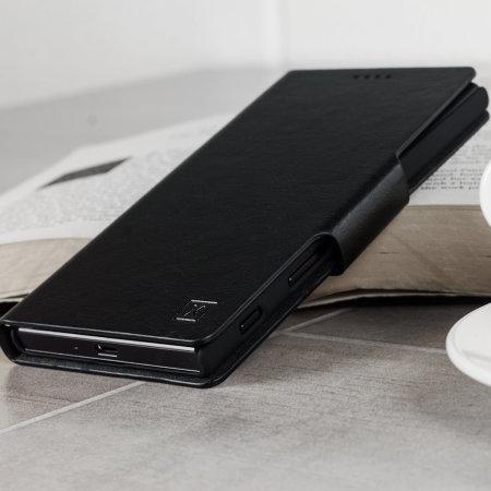 Olixar Leather-Style Sony Xperia XA2 Plus Wallet Stand Case - Black