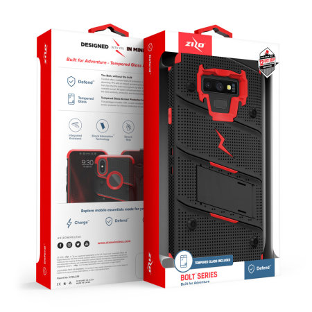 Zizo Bolt Samsung  Note 9 Tough Case & Screen Protector - Black / Red