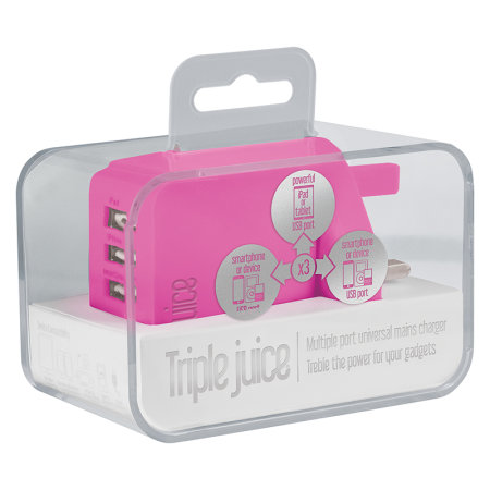 Juice 3.4A Triple USB Universal Mains Charger - Pink