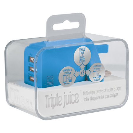 Juice 3.4A Triple USB Universal Mains Charger - Blue