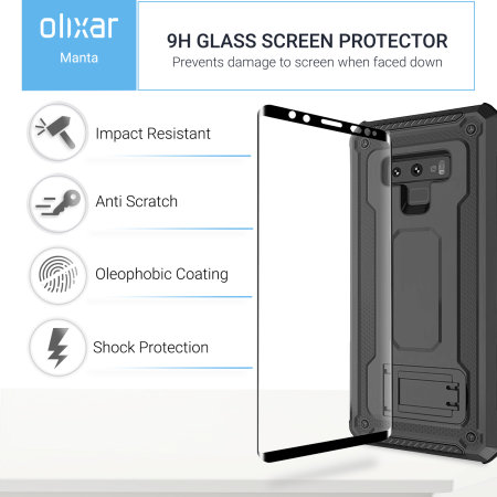 Samsung Galaxy Note 9 Case with Tempered Glass Olixar Manta - Black