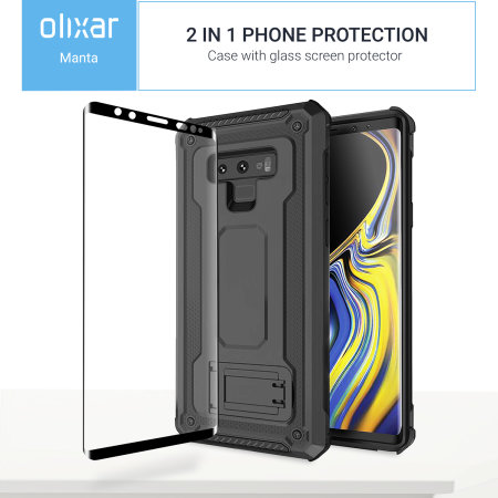 Samsung Galaxy Note 9 Case with Tempered Glass Olixar Manta - Black