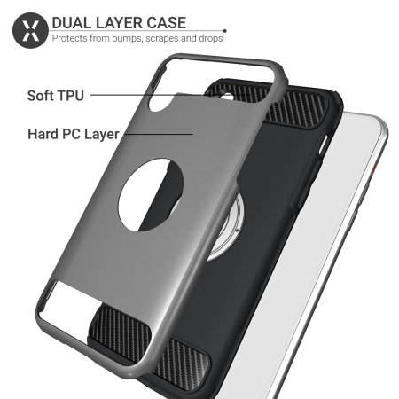 olixar armaring iphone xr finger loop tough case - silver